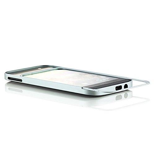 Saxonia. Aluminium Bumper HTC One M8 (2014) Alu Case Hülle Rahmen Silber