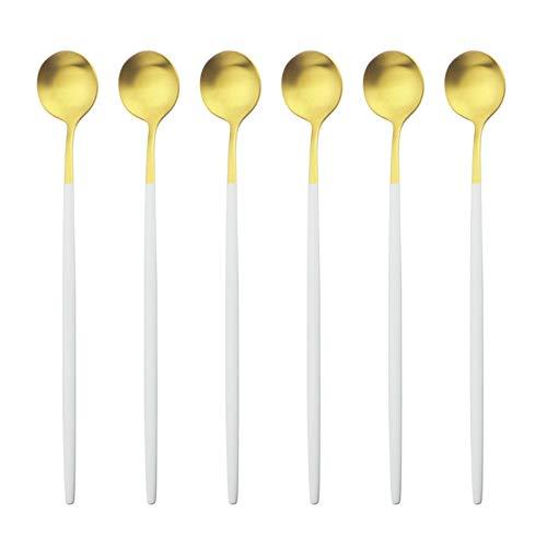 6 unids oro mango largo cuchara conjunto mate acero inoxidable cubiertos conjunto pulido agitación bebida helado postre cucharada de té vajilla (Color : White Gold)