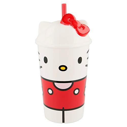 Bicchiere con tappo e cannuccia Hello Kitty