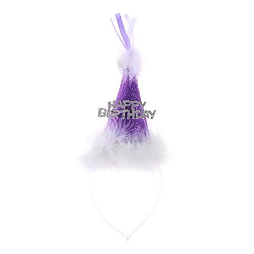 Amosfun Gelukkige Verjaardag Hoofdband Fluffy Veer Glitter Haarbanden Haarhoepel Hoofdtooi Voor Kinderen Kerstmis Verjaardag Baby Douche Kostuum Jurk (zilver) 26.5 x 10 x 4cm Paars