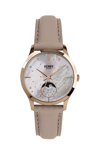 Henry London Unisex Erwachsene Mondphase Quarz Uhr mit Leder Armband HL35-LS-0320