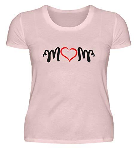 ROCK-WITCHES Idea de regalo para el día de la madre. Camiseta para mujer con texto en alemán 'Mom als Schriftzug mit einem roten Herzen - Premium' Polvo rosa. L