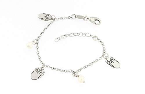 MAGICMOON - Mod. VTP10000572 - Pulsera infantil de plata 925 rodiada con búhos colgantes y perlas sintéticas