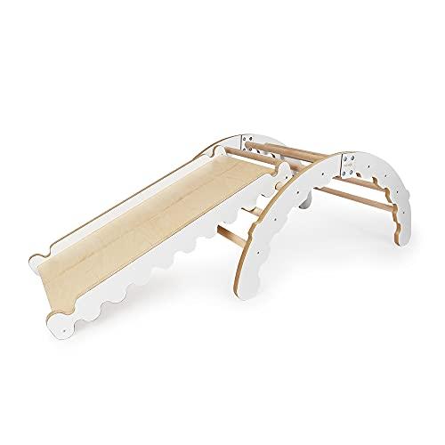 MAMOI Triangle Gym Dreieck mit Rutsche Kletter Wippe Holz Natürliche Materialien   Quadro Klettergerüst Rutsche aus Kiefernholz   Indoor und Outdoor   100% ECO   Made in EU