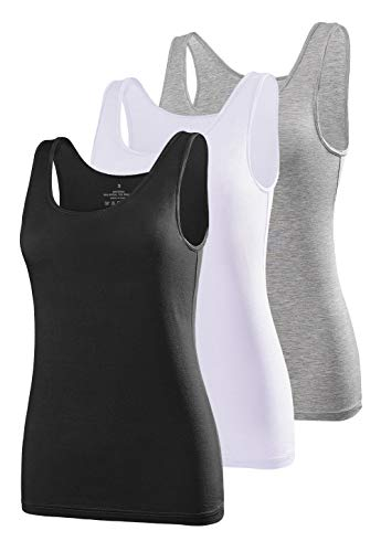 Air Curvey Tank Tops for Women Undershirt Tanks Slim-Fit 3 Pack Black White Gray XXL