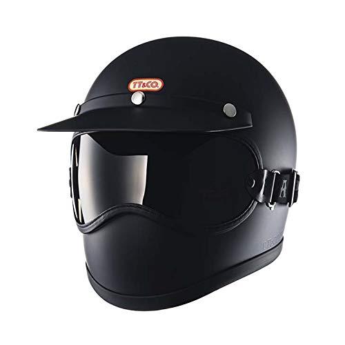 TT&CO. トゥーカッター マットブラック ライトスモークゴーグルセット フルフェイスヘルメット ヴィンテージ フルフェイス ビンテージ ヘルメット SG/PSC/DOT 乗車用ヘルメット おしゃれ ハーレー モトクロス