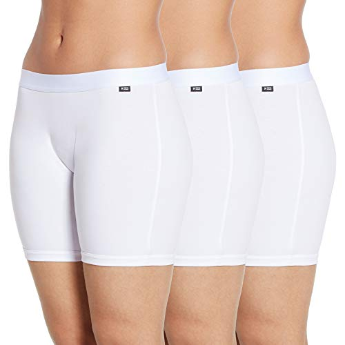 """TomboyX 6"""" Boy Short Boxer Briefs, 3 Pack Cotton Form-Fitting Underwear, Breathable All Day Comfort- Large/White"""