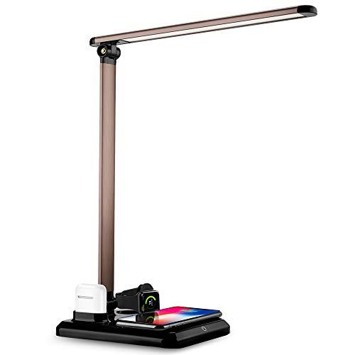 BECROWM EU LED Chargeur de Lampe sans Fil, Lampe de Table de Bureau Compatible avec Les Ordinateurs de Bureau, Bureau de Bureau Compatible, AirPods, Série iWatch 3/2/1, iPhone XS/XR/XS Max/X Noir