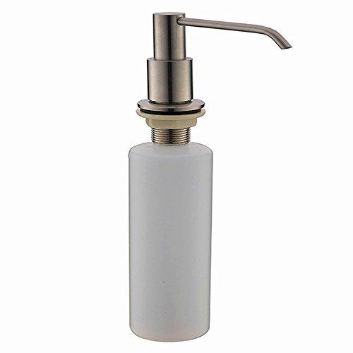 VAPSINT Modern Stainless Steel Brushed Nickel Built In Pump Large Capacity 13 OZ Bottle Kitchen Sink Dish Soap Dispenser,Kitchen Sink Countertop Hand Soap Dispenser