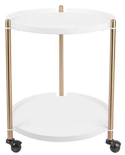 Present Time - Table d'appoint Blanche Mate et métal doré Thrill
