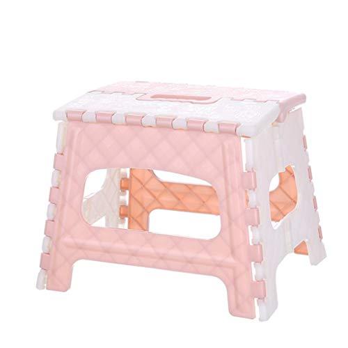OKBOP Folding Step Stool for Kids, Portable Small Plastic Foldable Toddler Footstool, Safe Non-Slip Sturdy Ladder Storage for Kitchen Bathroom Toilet Inddor Outdoor, 300 lb Capacity, Easy Open (Pink)