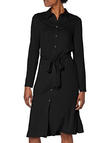 Vila Damen Vidania Belt L/S Shirt Dress/Su - Noos Kleid, Schwarz, 38 EU