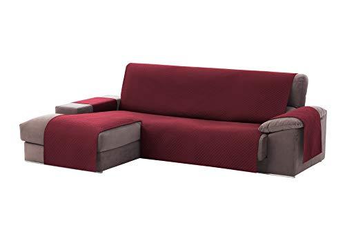Textilhome - Copridivano Salvadivano Chaise Longe Adele - Color Rosso -BRACCIOLO Sinistra - Protezione per divani Imbottiti - Dimencione 240cm -(Visto di Fronte).