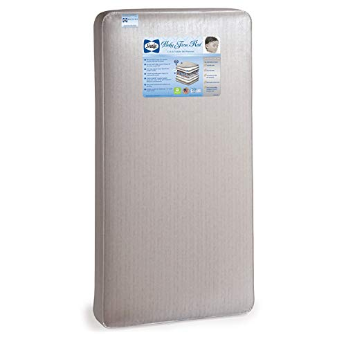 "Sealy Baby Firm Rest Antibacterial Waterproof Standard Toddler & Baby Crib Mattress - 204 Premium Coils, Healthy Clean, 51.7"" x 27.3"""
