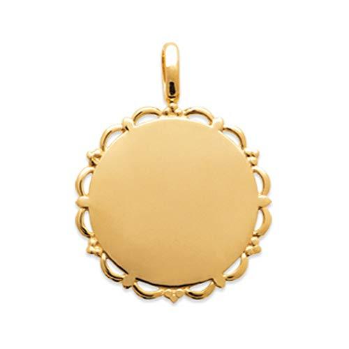 Tata Giselle - Colgante con Medalla Redonda chapada en Oro – Torre de Encaje Relieve – Bolsa de Regalo de Terciopelo