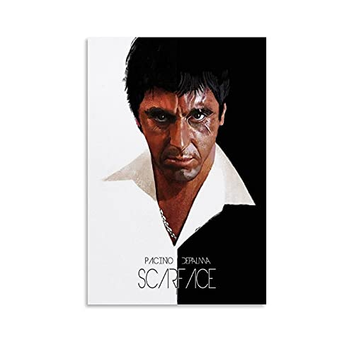 Vintage Movie Poster Scarface Yvan Quinet Canvas Art Poster and Wall Art Picture Print Modern Family Bedroom Decor Posters 08x12inch(20x30cm)