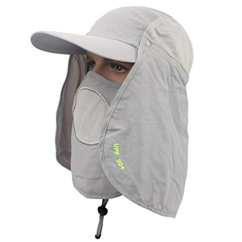 Zonnehoed met ademende Gezichtsmasker Shade Hat verwisselbare Neck & FaceFlap afdekkappen Backpacken Fietsen Hiking Hengelsport Tuin Jacht Outdoor (Color : Light gray)
