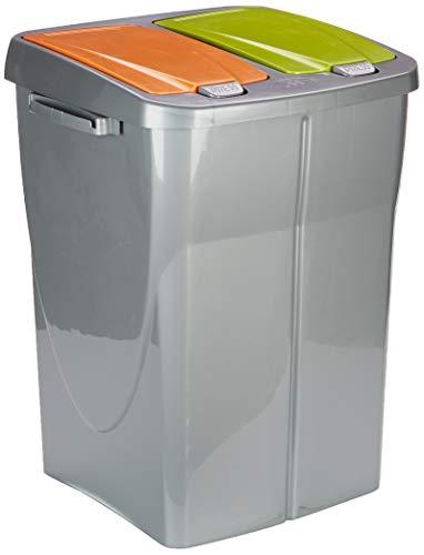 mondex PLS 8182-15 Roll Top-Cubo de Basura para Reciclaje con Tapa de plástico y Dos Compartimentos (36cmx36,5cmx51cm, 2x22,5l), plástico, Gris, 5 L