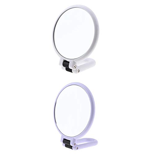 Fenteer 2Pcs Miroir Maquillage Glace Grossissante 5x 15x de Salle de bain, Miroir de Table Pliable Tournant à 360