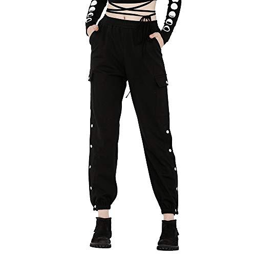 Steel Master Pantalones de Mujer de Personalidad Punk, Pantalones Negros Estilo Partido, 3 tamaños