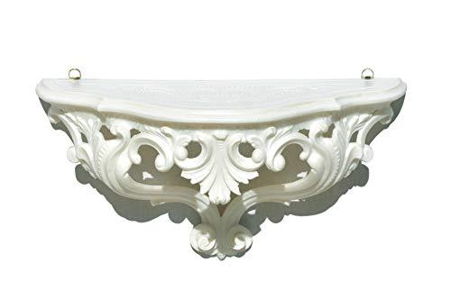 Ideacasa Mensola Consolle Bianco Stile Barocco Luigi XVI Finto Vintage cm 20x38,5x15,5