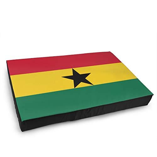 Jacklee Hond Kat Bed met Orthopedisch Schuim en Wasbaar Anti-slip Cover, Ghana Vlag