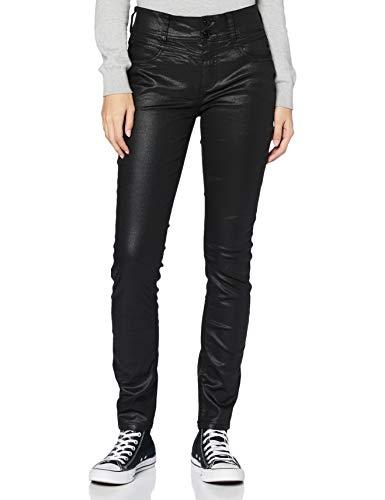 STREET ONE Damen 373614 Style York Jeans, Schwarz (Sleek Black Coated), 29W / 30L