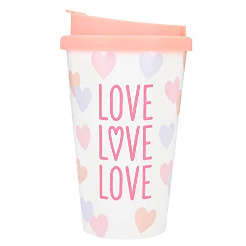 Depesche 2180.035 To-Go Becher aus Kunststoff mit Spruch, 350 ml, Love Love Love