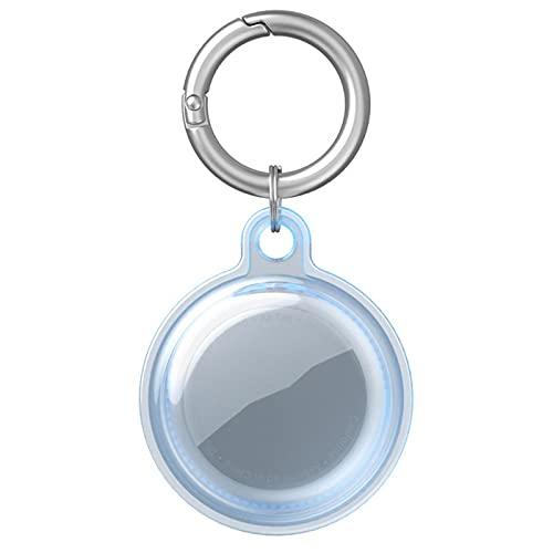 Funda protectora para AirTags, con llavero, funda de TPU suave compatible con Apple AirTags 2021, funda protectora antiarañazos, ligera, impermeable, para AirTags Finder Tracker (azul transparente)