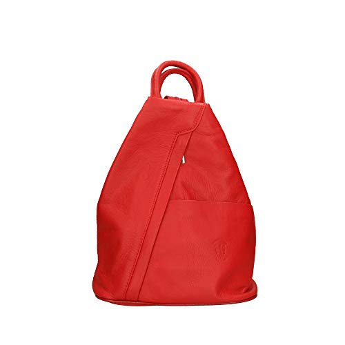 Chicca Bags - Women's Backpack Bag in Genuine Leather Made in Italy - 25x30x13 Cm Red Size: One Size