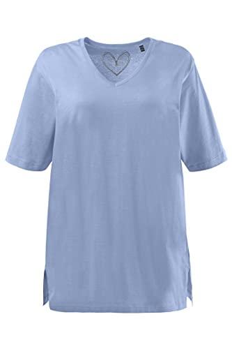 Ulla Popken Damen Größen, V-Ausschnitt T-Shirt, helles türkis, 46+