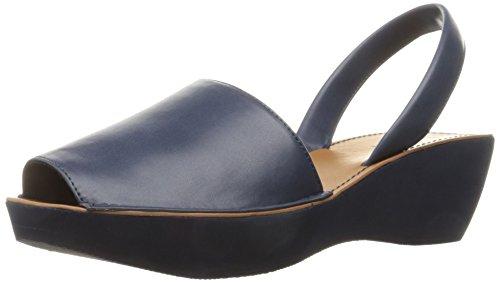 Kenneth Cole REACTION Women's Fine Glass Slingback Platform Sandal, Navy, 7