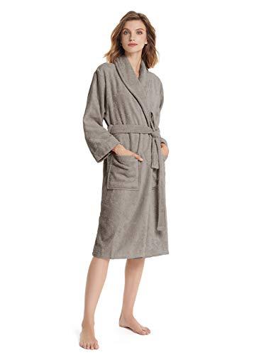 SIORO Frottee Bademantel Damen Langarm Baumwolle Bademantel Kimono Damen Morgenmantel Mit Taschen und Gürtel S-XL Saunamantel, Falcon Grey Medium