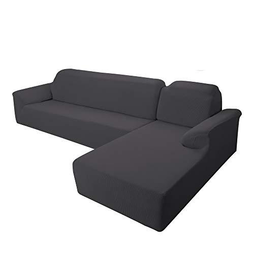 E EBETA Ecksofahusse Sofabezug, Sofaüberwürfe für L-Form Elastische Stretch Jacquard Ecksofabezug Rechts 2-Sitzer (Dunkelgrau)