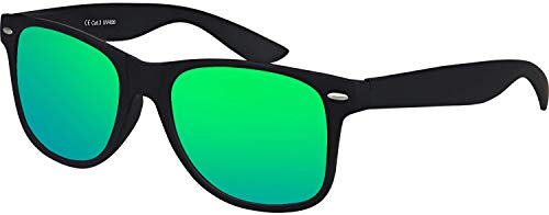 Balinco Nerd Sonnenbrille UV400 CAT 3 CE Rubber im Retro Stil Vintage Unisex Brille inklusive Federscharnier für Damen & Herren (schwarz - grün)