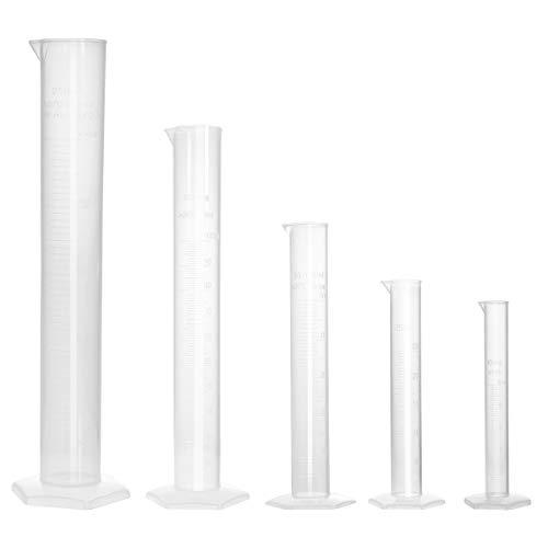 UEETEK 5 Stücke Messzylinder Kunststoff Messzylinder Flüssigkeit Messwerkzeuge 10 ml / 25 ml / 50 ml / 100 ml / 250 ml