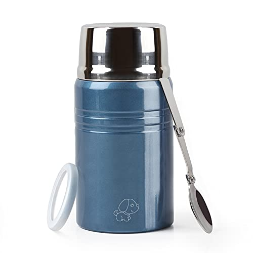 XIAPIA Boîtes Alimentaires Isotherme 500 ml/750 ML Thermos Alimentaires Chaud avec Cuillère Contenant Isolant Inoxydable Gamelle Thermos Isotherme Repas Chaud pour École, Bureau, Camping (Bleu, 750ml)