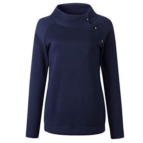 Pullover Damen Langarm High Neck Knopf Mode Einfarbig Locker Warm Modern Sweatshirt...