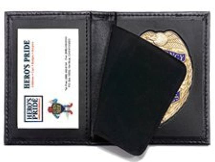 Bi-fold Shield Badge Holder Case with Single Id Window, 100% Genuine Leather