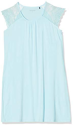Schiesser Damen Sleepshirt 0/0 Arm, 90Cm Nachthemd, Blau (Aqua 833), 40 (Herstellergröße:040)