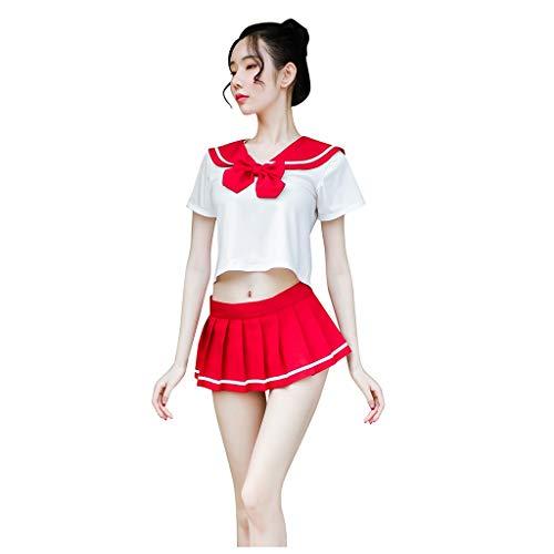 Lazzboy Frauen Sexy Printed Student Kostüm Uniform Shirt + Minirock Sailor Suit Set Damen Babydoll Nachtwäsche Cosplay Kleid Dessous Erotik Schlafanzüge(Schwarz,M)