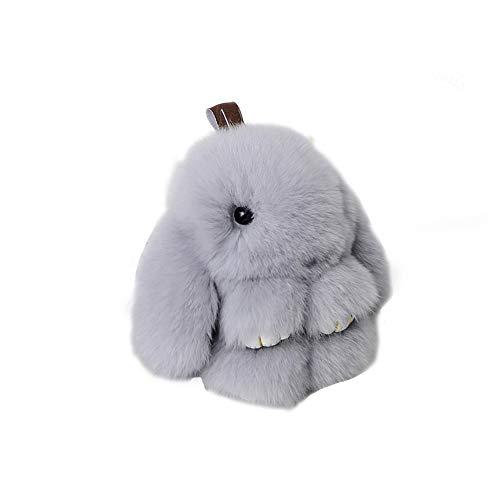 Romote Netter Fluffy Kaninchen Ball Schlüsselanhänger Anhänger Tasche Anhänger Schlüsselanhänger-Halter Keychain Frauen-Auto-Tasche Verzierung 1pc (grau)