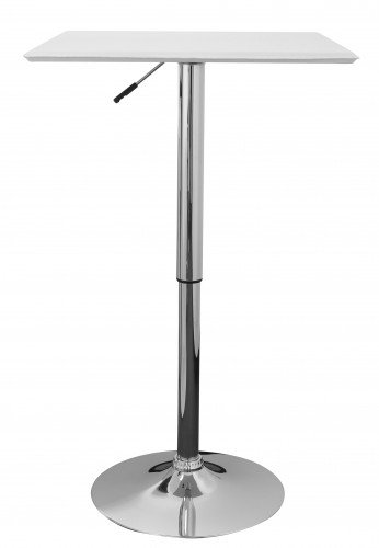 Stehtisch ATONA Bistrotisch Kunstleder Weiß höhen-verstellbar quadratisch Design Bartisch Chrom robust eckig Stehtisch Messetisch modern Partytisch drehbar HxBxT: 83-104x63x63cm