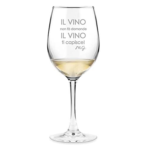 Maverton classico Calice da vino - incisione personalizzata - 350 ml in vetro - ideale per vino rosso e bianco - regalo di compleanno o matrimonio unico - per la donna - niente domande
