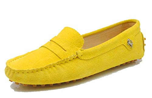 MINITOO Damen Knoten Slip-on Wildleder Freizeit Slipper Mokassins Gelb EU 35.5