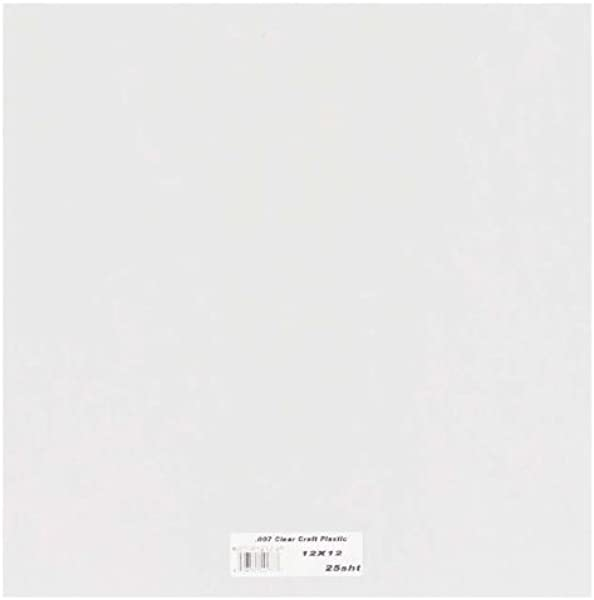 Grafix Clear Craft Plastic 007 Thickness 12 Inch By 12 Inch Pack Of 25