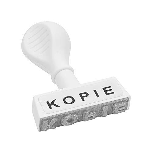 WEDO 19324 Lagertext Stempel KOPIE, Kunststoff, Abdruckbreite ca. 45 mm, Schrifthöhe 6,5 mm, ergonomischer Griff, weiß