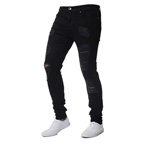 N\P Pantalones vaqueros ajustados masculinos delgados de chándal sexy agujero Outwears, pantalones de los hombres Hip-Hop Jeans