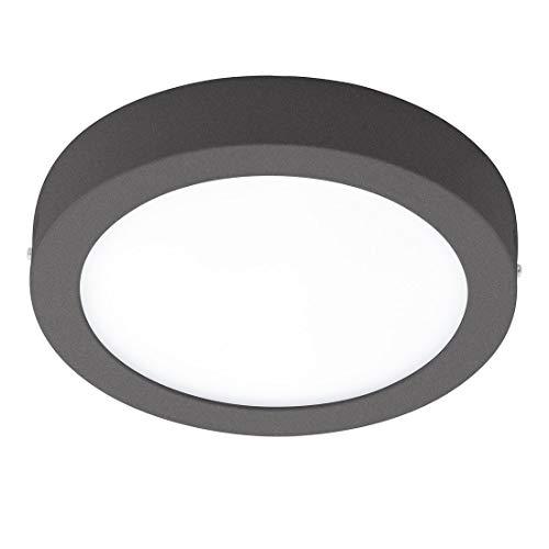 EGLO LED Außen-Deckenlampe Argolis, 1 flammige Außenleuchte für Wand und Decke, Deckenleuchte aus Alu und Kunststoff, Farbe: Anthrazit, weiß, IP44