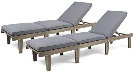 Best Christopher Knight Home 304426 Alisa Outdoor Acacia Wood Chaise Lounge (Set of 2), Grey Finish/Dark